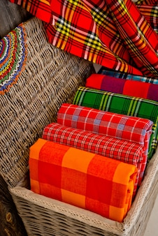 Colorful plaids of the masai tribe. african blankets from kenya and tanzania.