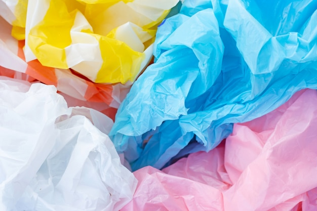 Colorful plastic bags background