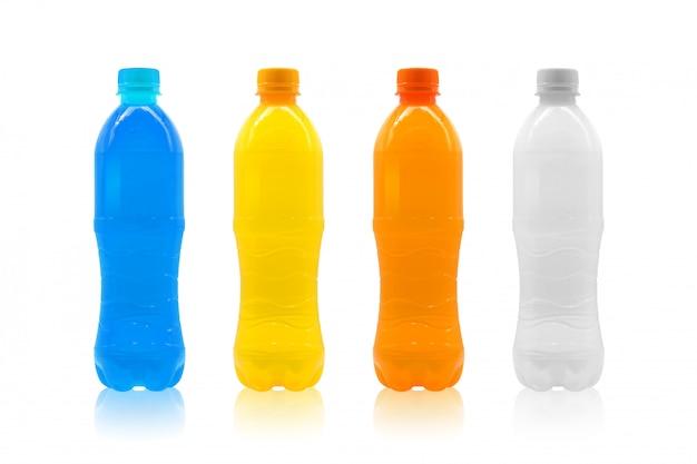 Colorful plastic bottle isolated on white background.