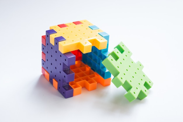 Colorful plastic jigsaw puzzle game