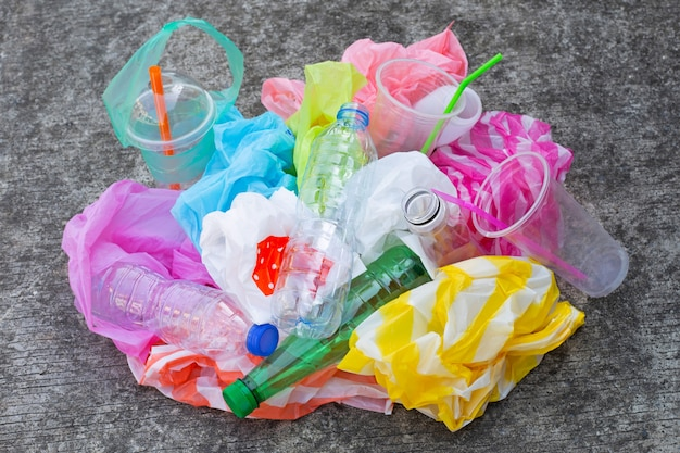 Colorful plastic waste