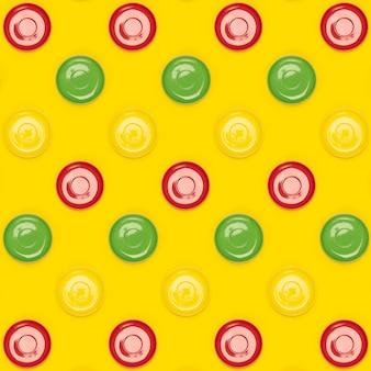 黄色のカラフルな皿受け皿パターン