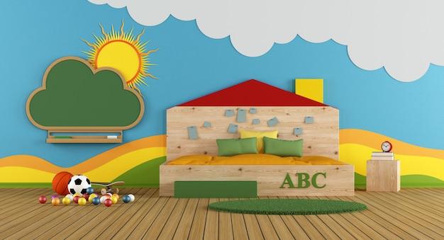 Красочная игровая комната с большой кроватью