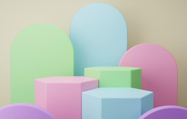 갈색 바탕에 파스텔 블루 그린 핑크가 있는 화려한 연단