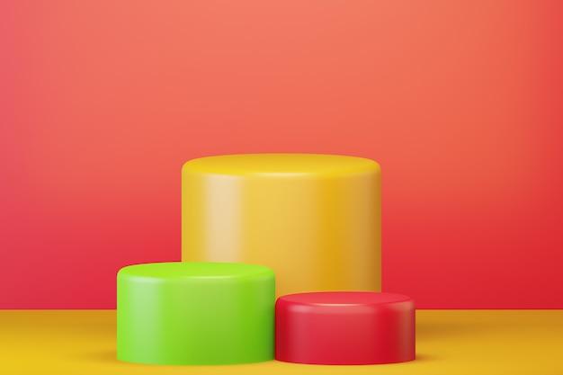 Красочные подиумы на желтой поверхности