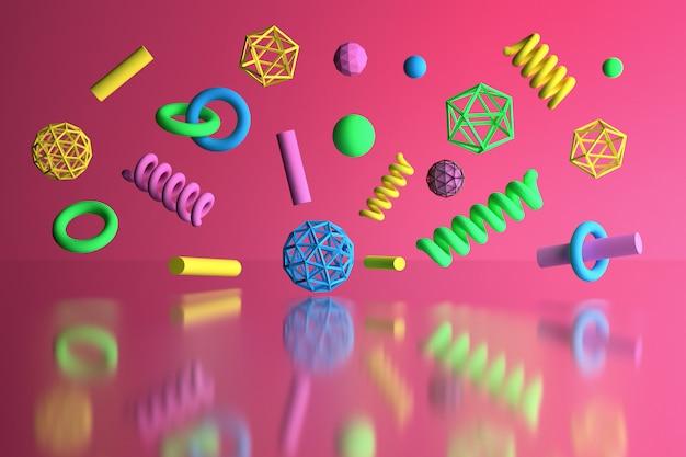 Colorful poligonal primitive shapes flying over pink reflective surface