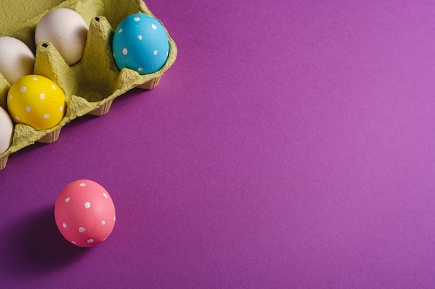 Colorful polka dot easter eggs in egg tray on purple violet plain background, greeting card, copy space, angle view