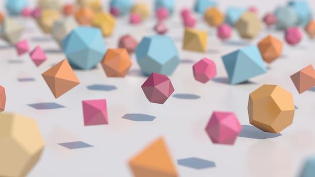 Красочные многогранники, крупный план. абстрактная иллюстрация, 3d визуализация.