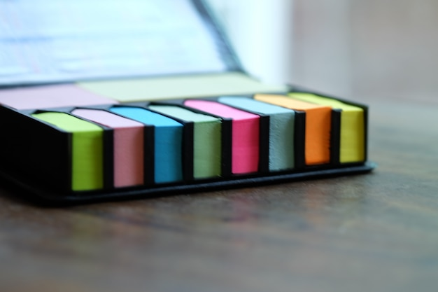 Colorful of post it on work desk