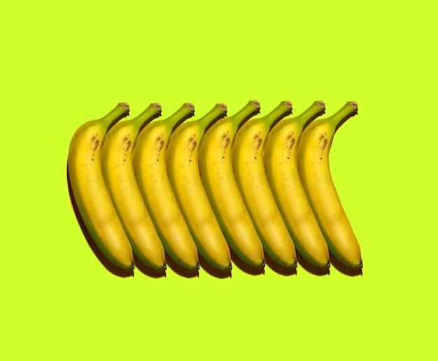 Colorful poster with bananas composition on colorful background