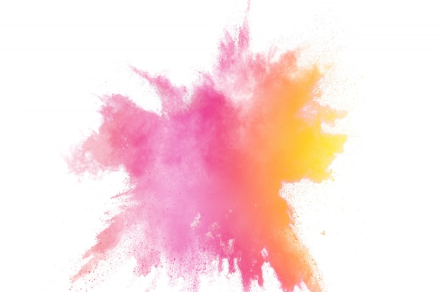 Colorful powder explosion. abstract pastel color dust particles splash.