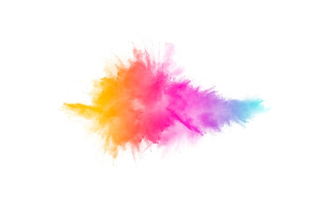 Colorful powder explosion. pastel color dust particle splashing.