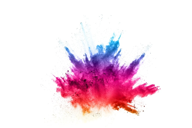 Colorful powder explosion on white background. colored cloud. colorful dust explode.