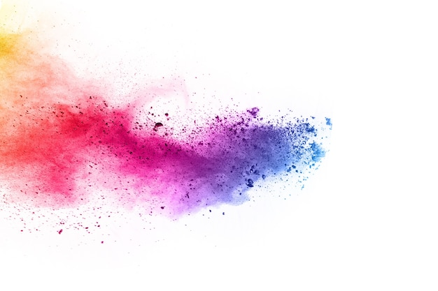 Colorful powder explosion on white background.