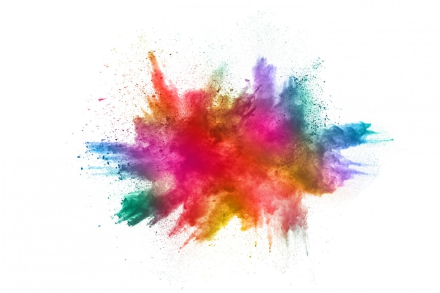 Colorful powder explosion on white background