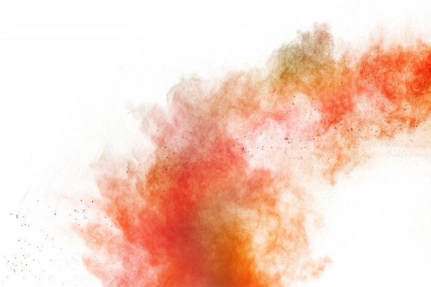 Colorful powder explosion on white