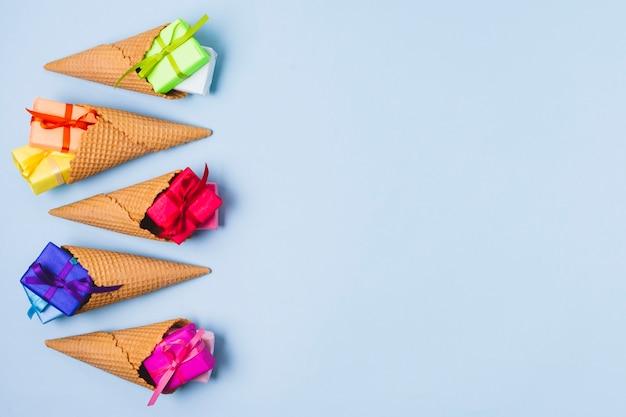 Colorful present in ice cream cones