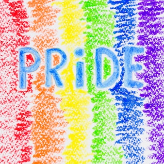 Colorful pride flag painted with crayons