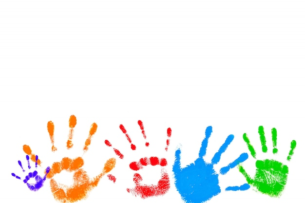 Colorful prints of children's palms