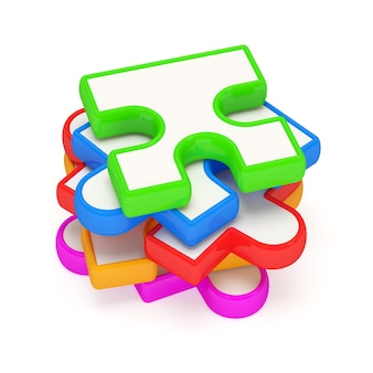 Colorful puzzle piece on white background