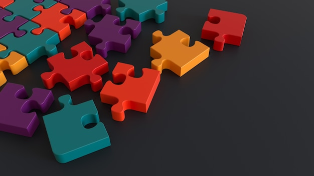 블랙에 고립 된 다채로운 퍼즐 조각