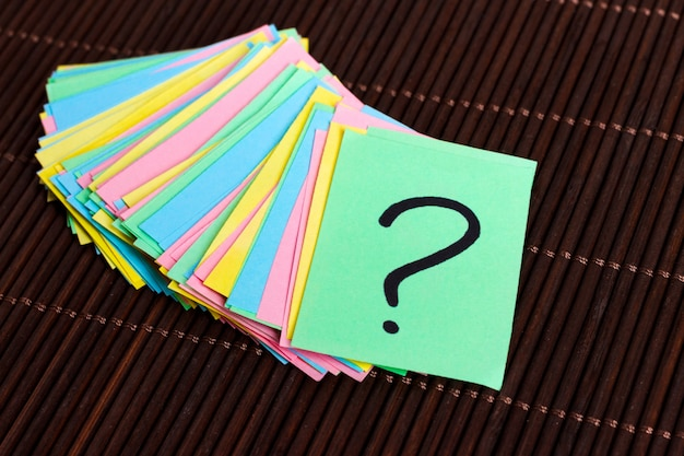 Colorful question marks written reminders tickets