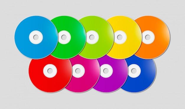 Colorful rainbow cd - dvd range on grey