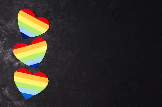 Colorful rainbow hearts for gay pride