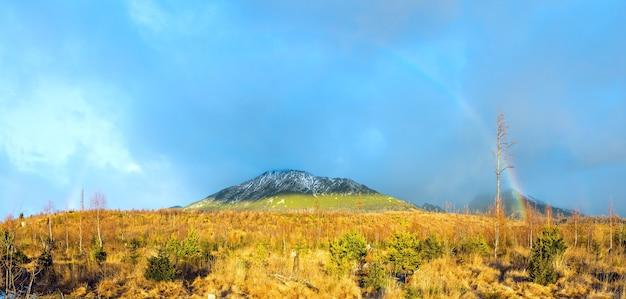 산에 회색 흐린 하늘 배경에 화려한 무지개. high tatras (슬로바키아)