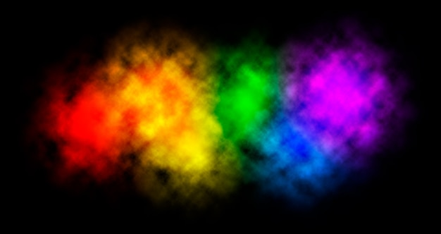 Colorful rainbow paint color on dark black background.
