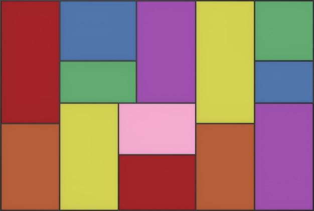 カラフルな長方形のフレームタイル壁の背景。