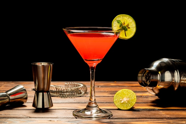 Colorful red alcohol cocktail recipe