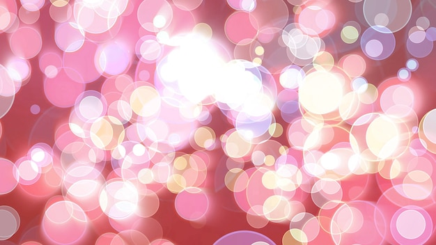 Colorful red pink light bubble divine dimension bokeh blur absract dark background