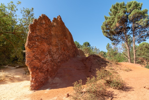 Colorful red rock formations ocher in the colorado provenzal in provence luberon france