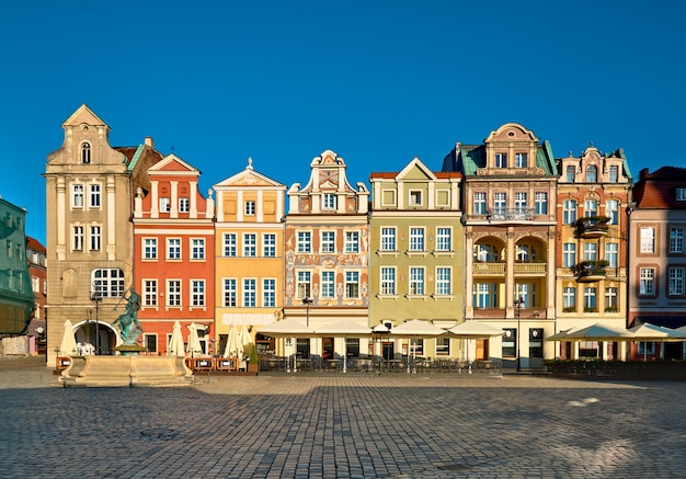 Colorful renaissance facades of old buildings on the maket square in poznan