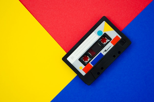 Colorful retro cassette tape with copy-space