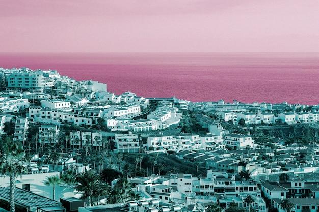 Colorful retro landscape in vaporwave style