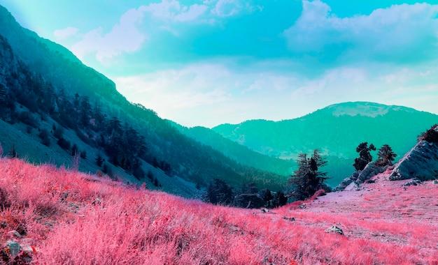 カラフルなレトロな蒸気波の風景