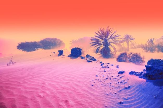 Colorful retro vaporwave landscape