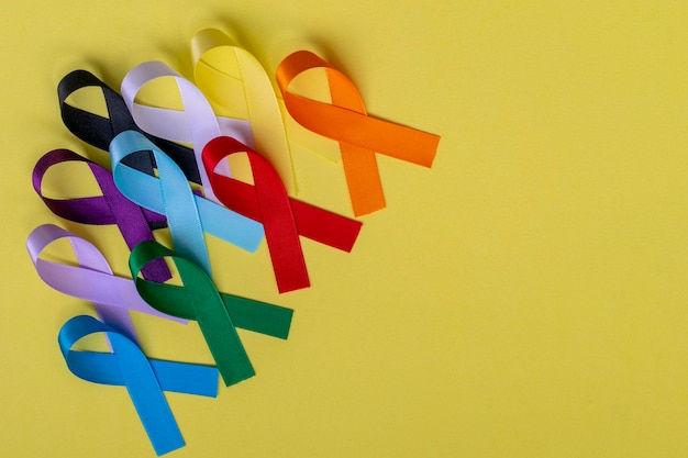 Colorful ribbons from disease prevention campaigns