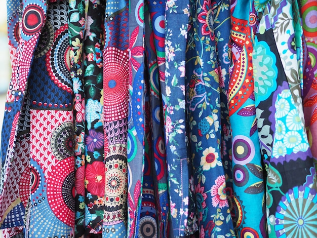 Colorful rolls of fabric pattern backgrounds.