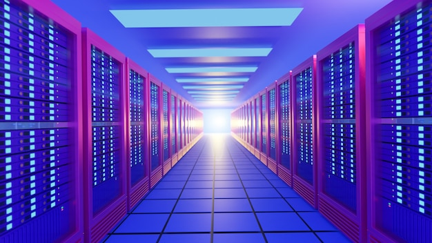Colorful row of hosting server racks in blue pink color. perspective view image. 3d rendering illustration image.