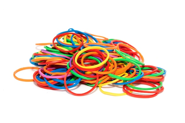 Colorful rubber band on white background no clipping path