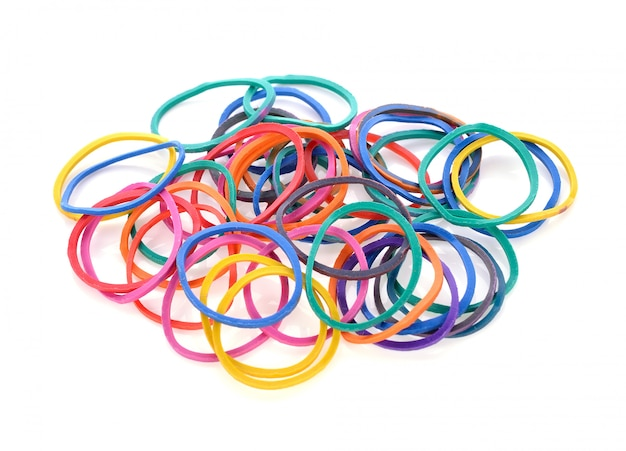 Colorful rubber band on white background