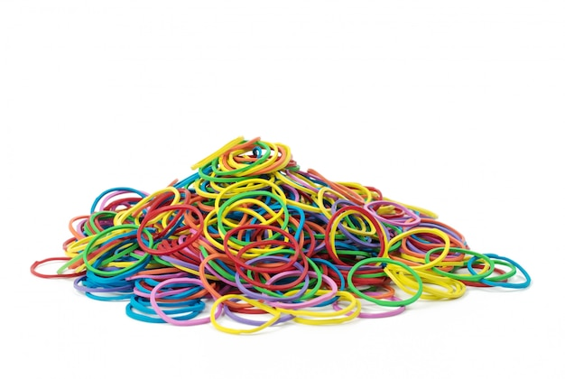 Colorful rubber bands isolated on white background.