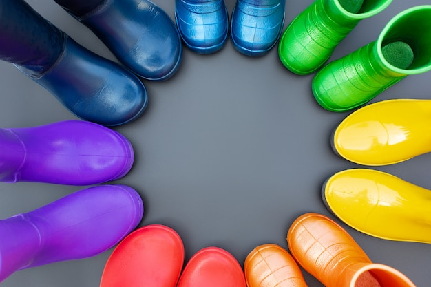 Colorful rubber boots of all colors