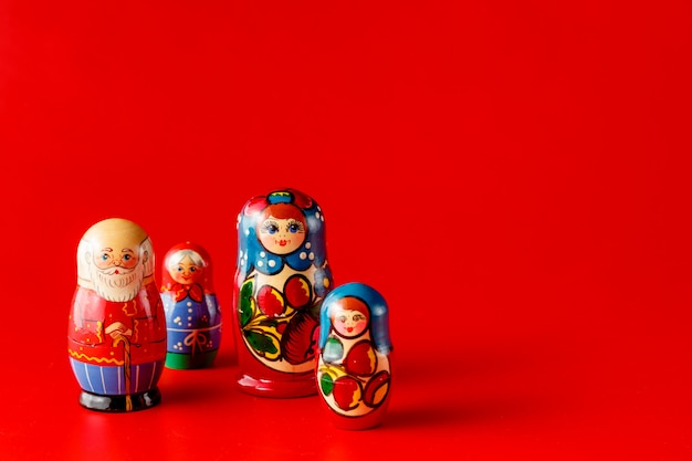 Colorful russian nesting dolls matreshka