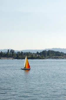 Colorful sailboat on the columbia river