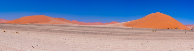 Colorful sand dunes and scenic landscape in the namib desert, namib naukluft national park.