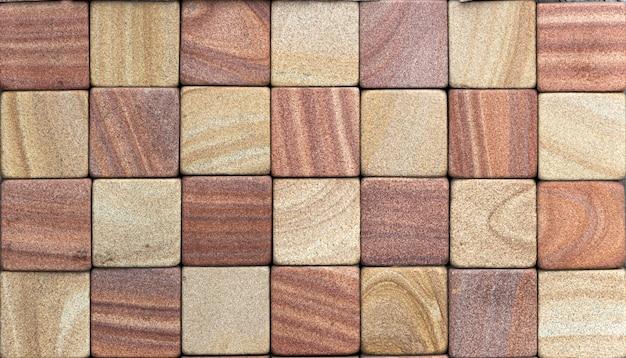 화려한 사암 벽 돌 질감 타일 배경 패치 워크, 갈색
